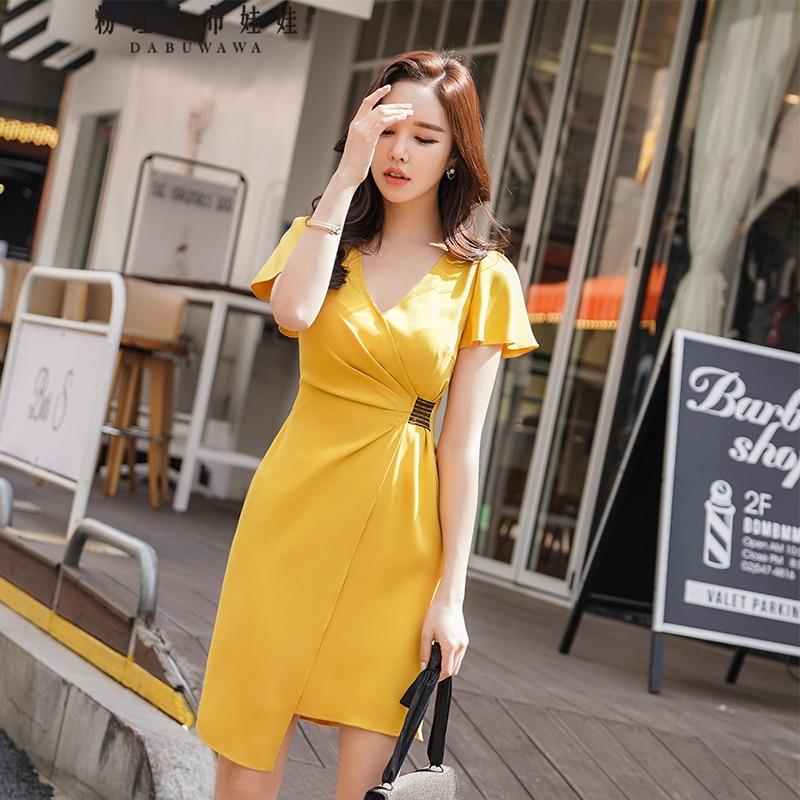 Dabuwawa Summer Yellow V neck Dress Women Sweet Irregular Hemline Slim Waist Party Office Dresses D18BDR283