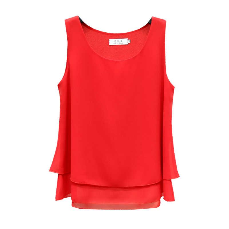 2019 新ファッション夏シフォンブラウス女性プラスサイズ 4XL ルースノースリーブ O トップス 13 色ブラウスシャツ