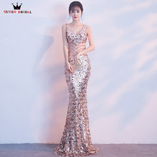 Mermaid V-neck Sequin Beaded Sexy Gold Silver Black Sexy Evening Dresses  2018 New Party Dress Evening Gown Robe De Soiree WR01 5caba530476a
