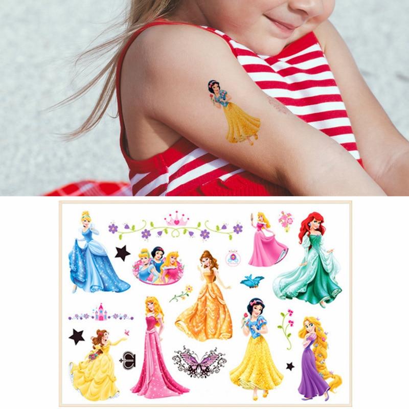 Children Cartoon Temporary Tattoo Sticker Novelty Cosplay Gag Toys For Princess Anna Cinderella Fans Waterproof 2-3 Days