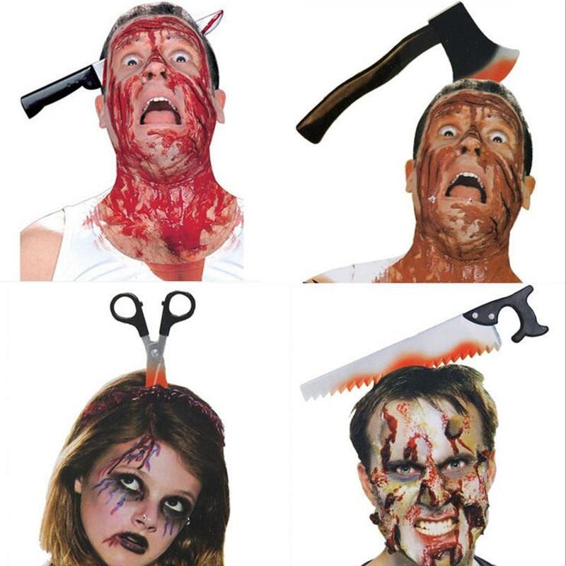 2018 Men Women Horror Buckle Axe Needle Saws Scissors Headband April Fools Day Tricky Shock Toys Halloween Party Headwear