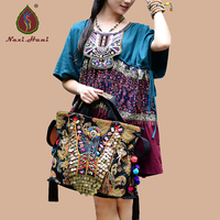 HOT Original Ethnic Style Exotic Gold Embroidery Elephant Shoulder Bags Vintage Pure Handmade Beaded Pompon Women