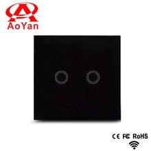Aoyan estándar de LA UE/REINO UNIDO, 2 Gang Panel de Cristal Cristal Blanco/negro/blanco/oro, Interruptor Inteligente, 110-250 V Interruptor de Luz de pared