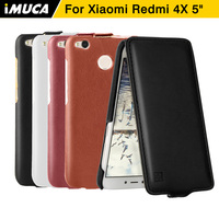 Xiaomi Redmi 4x Case Cover Redmi 4x Back Cover Flip Leather Case Fundas IMUCA Original Red