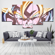 Dragon Ball Goku Rage in Rain 5 Piece Canvas Wallpapers modern Poster Modular art painting for Living Room Home Decor