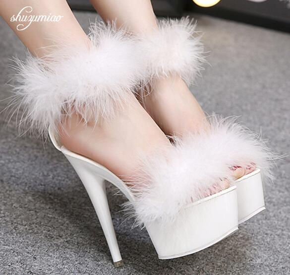 Lady Shoes Girl Sandals 2019 Fur Brand Design Summer Women Shoes High Heels 15cm Platform Party Wedding Sandals Women Catwalk
