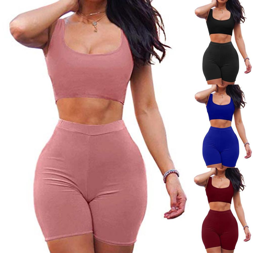 2 Piece Set Women Yoga Summer Women's Two Piece Dress Crop Top Skirt Set Sleeveless Outfits Summer Clothes For Women Sleeveless