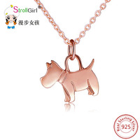 Strollgirl 925 Sterling Silver Dog Necklaces For Women Animals Dog Pendants Necklace Fashion Jewelry Accessories Chain