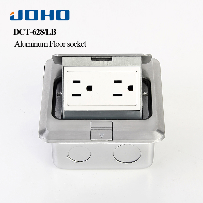 JOHO Aluminum Alloy Electrical Outlets Fast Pop Up Floor Socket Box With UL Duplex Receptacle 15A 125V Electrical Equipment brass slow pop up floor socket box with 15a 125v us socket rj45 computer data