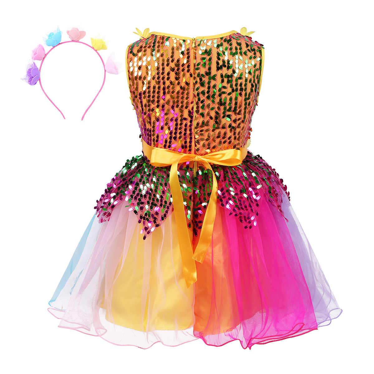 Детское балетное платье-пачка для девочек, Современный Джаз, латинский танец, сценическое детское платье с блестками и цветком, Радужное платье с обручем для волос