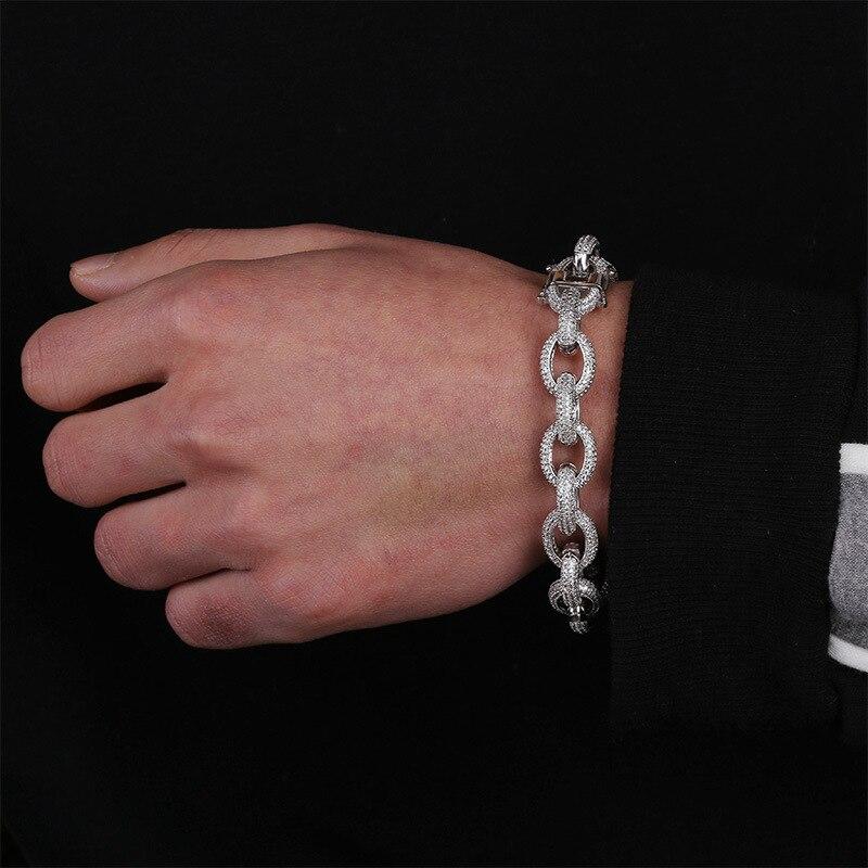 Bijoux en argent or de luxe Micro Zircon cubique pavé femmes charme Hip Hop Punk Pulsera glacé Bracelet pour hommes 7 8 pouces