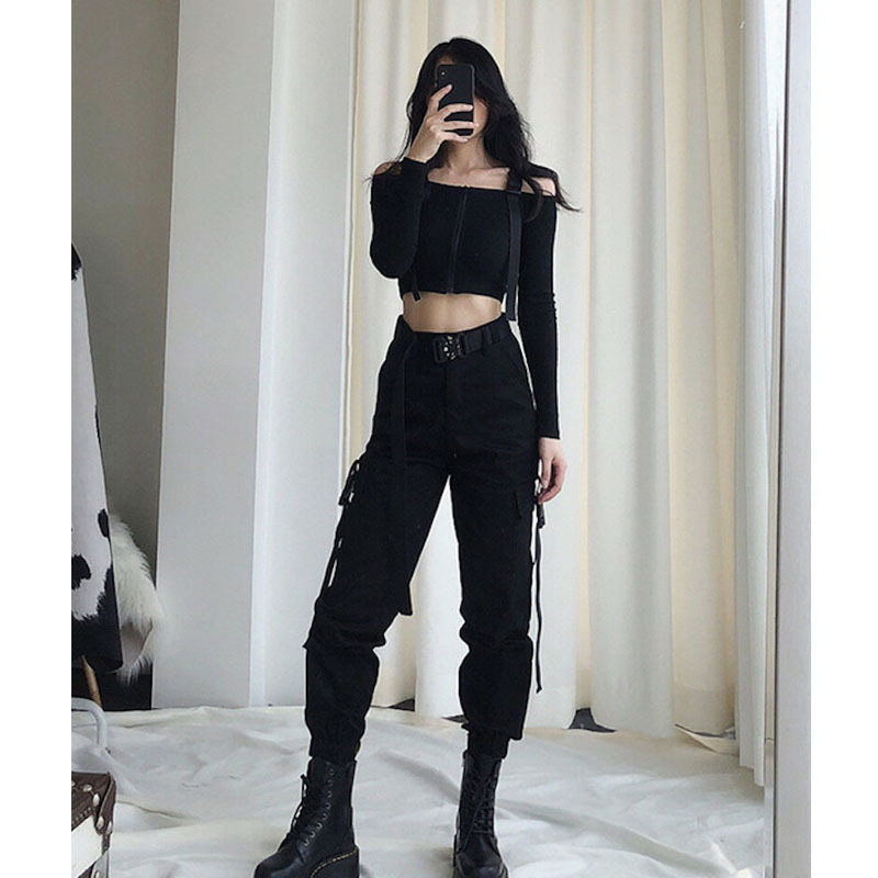 2019 Streetwear Cargo   Pants   Women Casual Joggers Black High Waist Loose Female Trousers Korean Style Ladies   Pants     Capri   Clothes