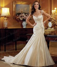 Free Shipping Mermaid Sweetheart Neckline Corset Back Sweep Train Satin Wedding Gowns Made In China With Beadings ST11412