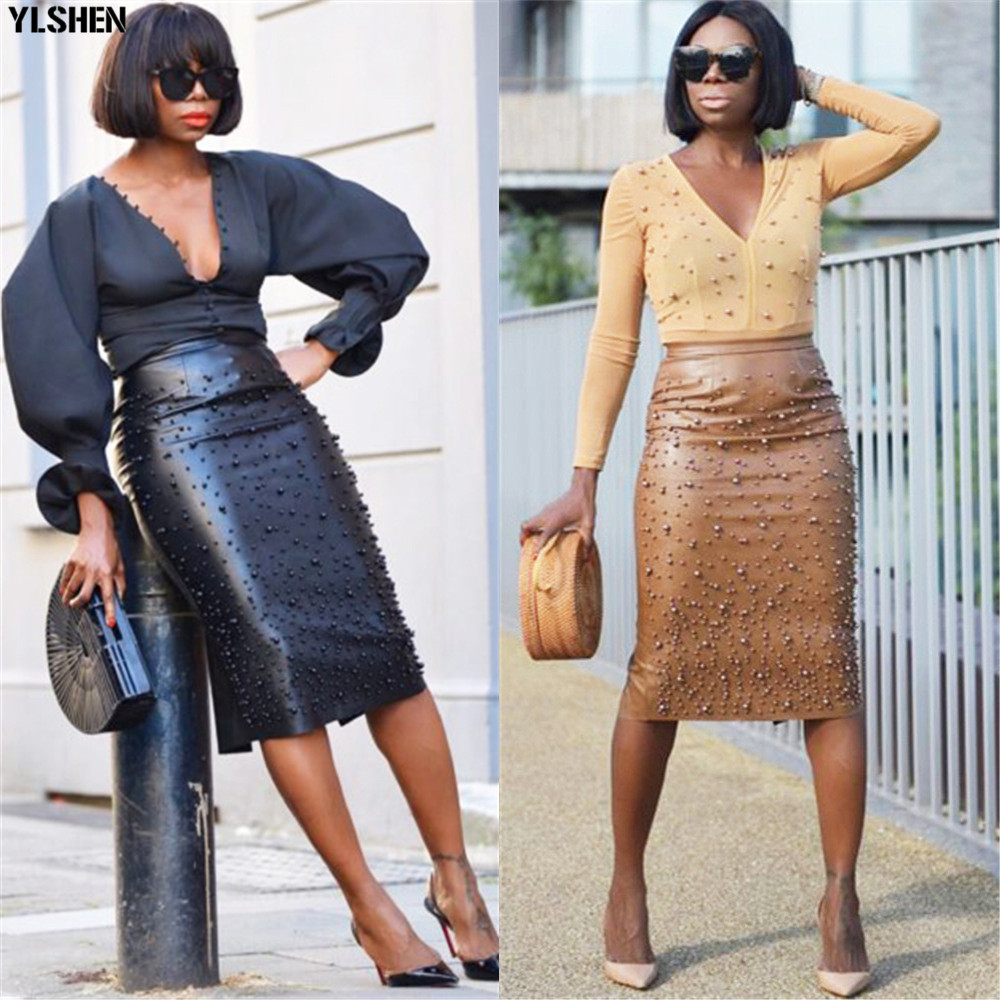 Sexy Africa Skirt Dashiki African Dresses For Women 2019 New Fashion Big Stretch PU Leather Beads Africa Dress Clothes Plus Size