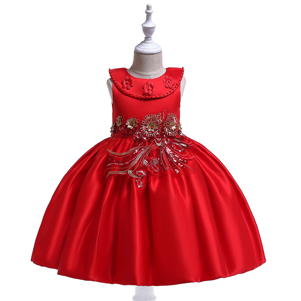 High Quality A-Line Scoop Red Satin   Flower     Girl     Dresses   with Pearls Prom Evening for   Girl     Dress   2019