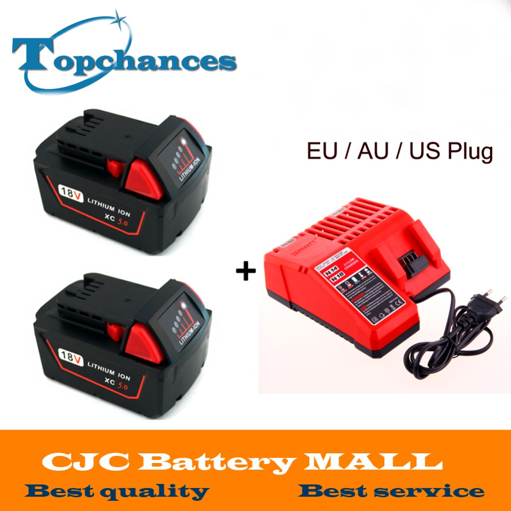 2x High quality 18V Li Ion 5000mAh Replacement Power Tool Battery for Milwaukee M18 XC 48