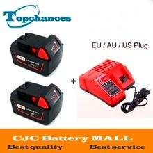 2x Haute qualité 18 V Li-Ion 5000 mAh Remplacement Power Tool Batterie pour Milwaukee M18 XC 48-11-1815 M18B2 M18B4 M18BX Li18 + chargeur