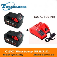 2x Высокое качество 18 В Li-Ion 5000 мАч Замена мощный инструмент аккумулятор для Milwaukee M18 XC 48-11- 1815 M18B2 M18B4 M18BX Li18 + зарядное устройство