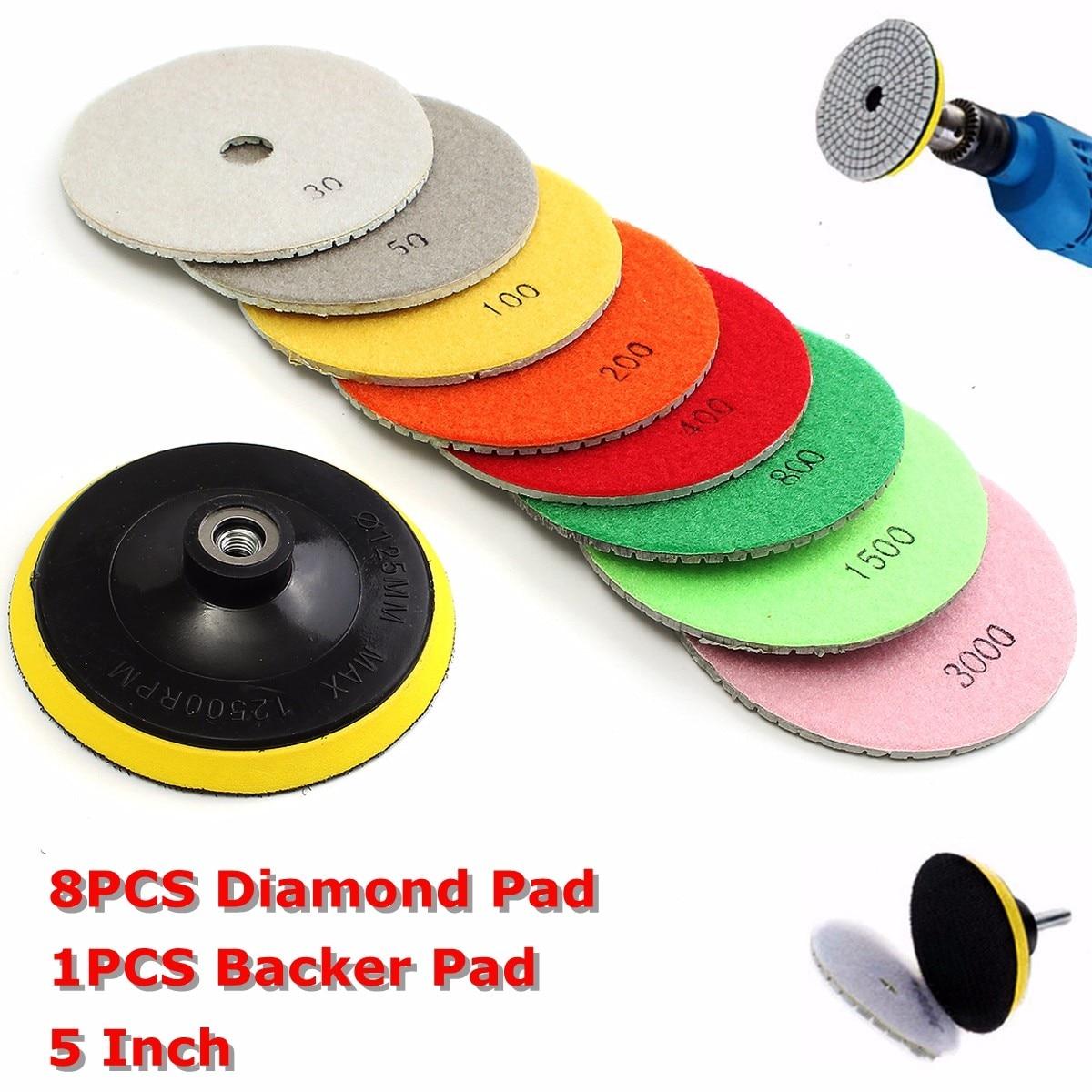 9pcs/set 5 Inch Diamond Polishing Pad Set Wet Dry For Granite Concrete Marble Stone Tiles Diamond Polishing Pad Backer Pad