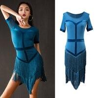 New Women Latin Dance Dress Tassel Latin Dancewear Latin Dress Performance Adult Standard Ballroom Salsa Dance Costume DQS1850