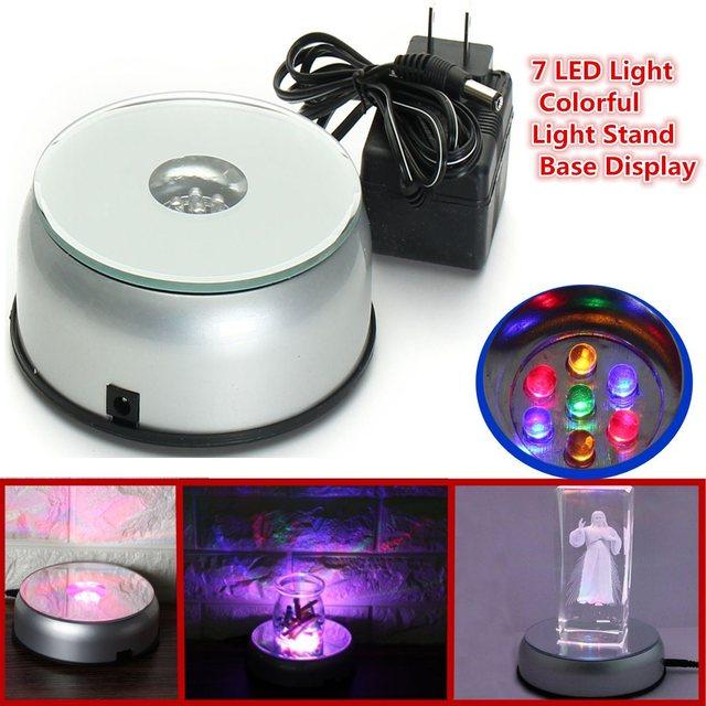 R$ 42 31 |Moda Colorida 7 LED Light Stand Turntable 3D Rotating Rotate  Stand Base de Cristais De Vidro Para Assista Jóias Display Show Case em  Jóias