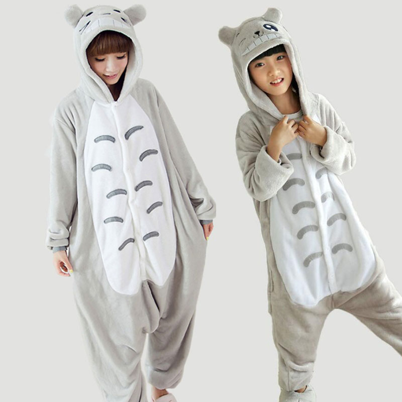 Funny Adults Onesie Mother Daugher Family Pajamas Set For Women Couples Winter Flannel Hooded Pijamas Hombre TC011