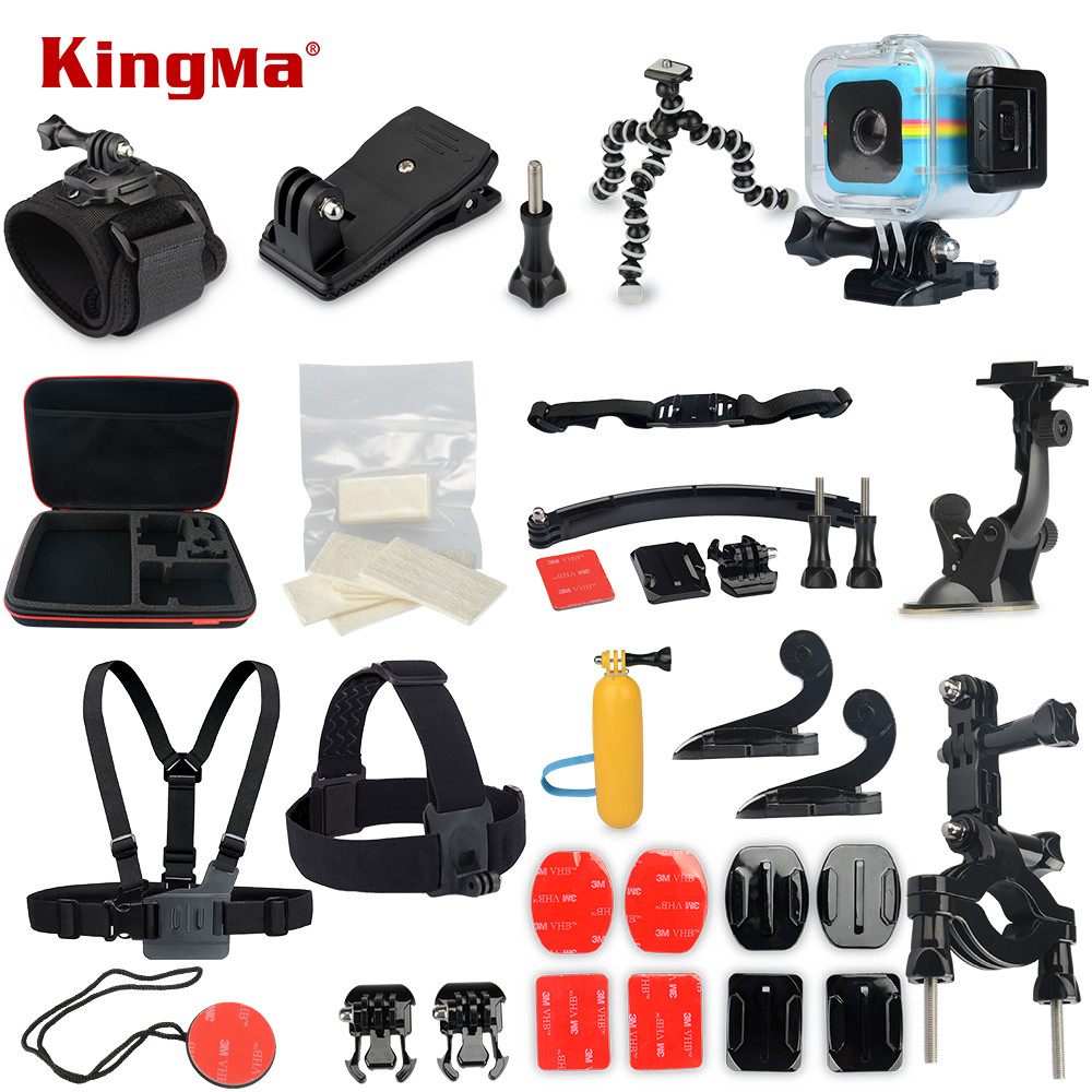 KingMa For Polaroid Cube+ Waterproof Case 18-in-1 Accessories Kit for Polaroid Cube and Cube+ Accesorios set polaroid cube blue экшн камера