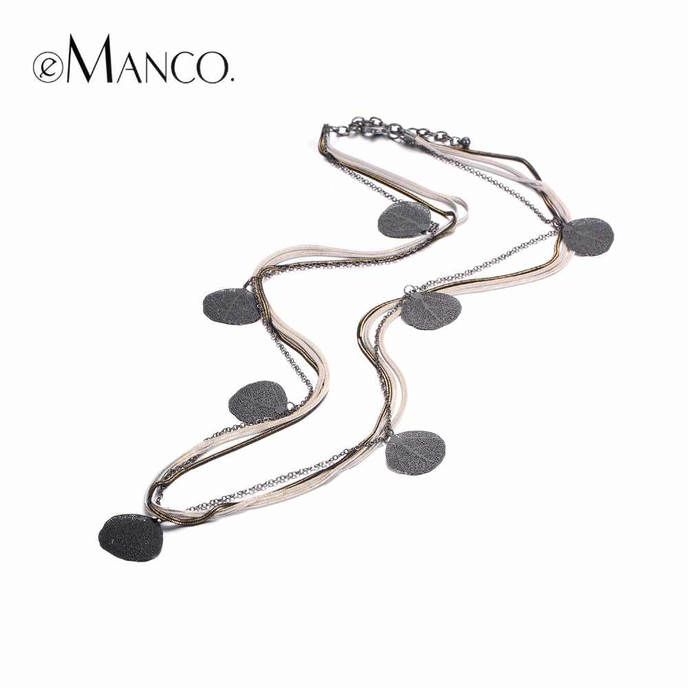 eManco Trendy Charms Long Necklaces for Women Black Metal Pendant & Copper Snake Chains Necklace Fashion Jewelry & Accessories