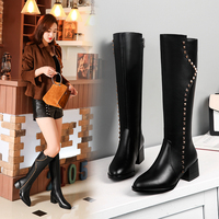 Dating, casual, fashion white collar studded boots