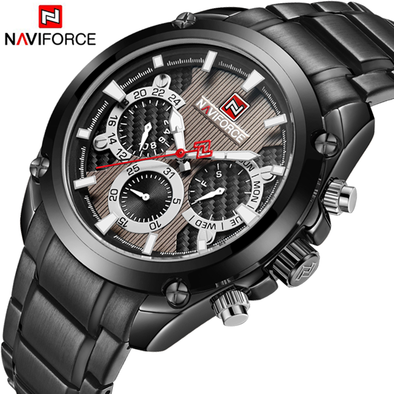NAVIFORCE Top Luxury Brand Men Watches Full Steel Business Clock Men Date Week Display Analog Quartz Wrist Watch Male Clock wwoor business dress wrist watch men modern date week display stainless steel band mens watches classic luminous male clock gift