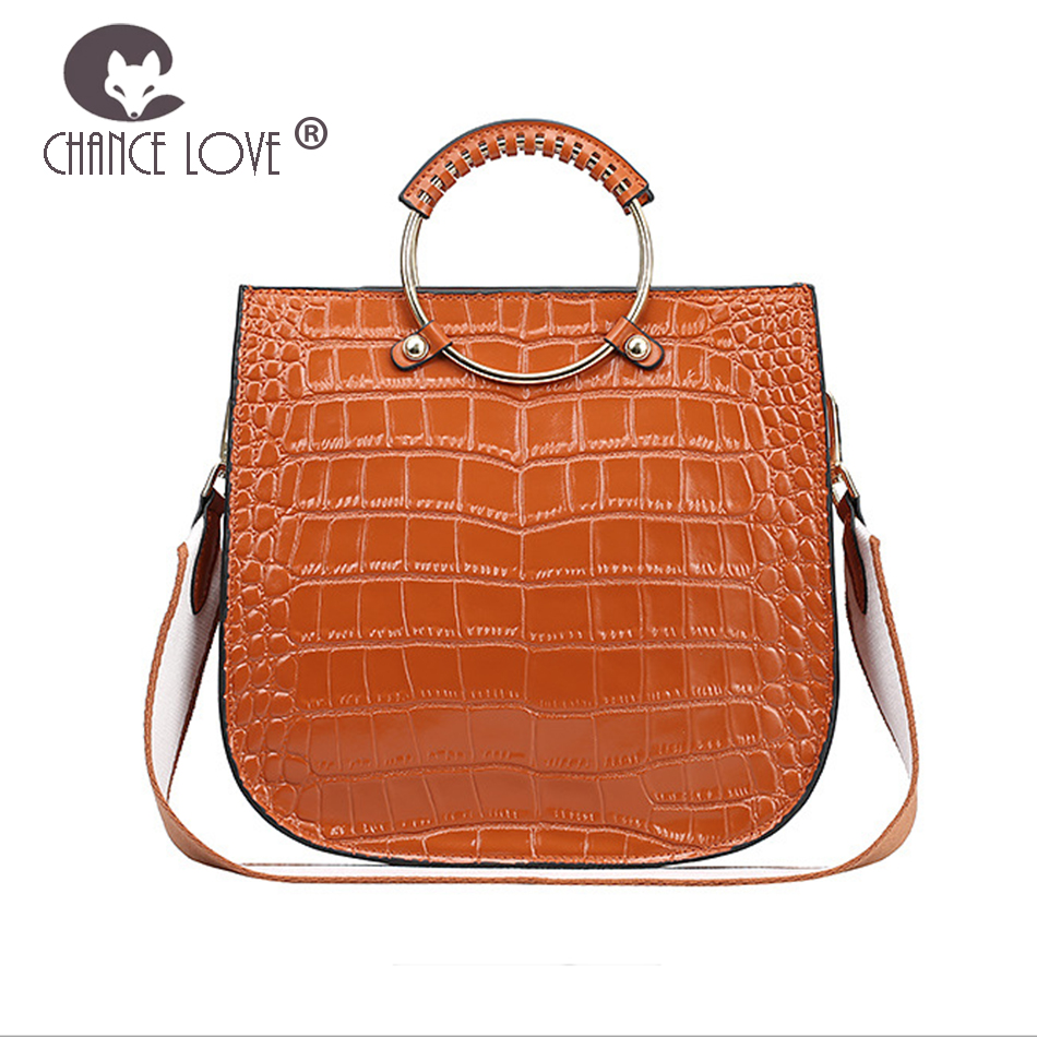 Chance Love 2018 new women's bag Genuine leather metal ring handbag fashion tote bag crocodile pattern shoulder Messenger bag metal ring pu leather tote bag