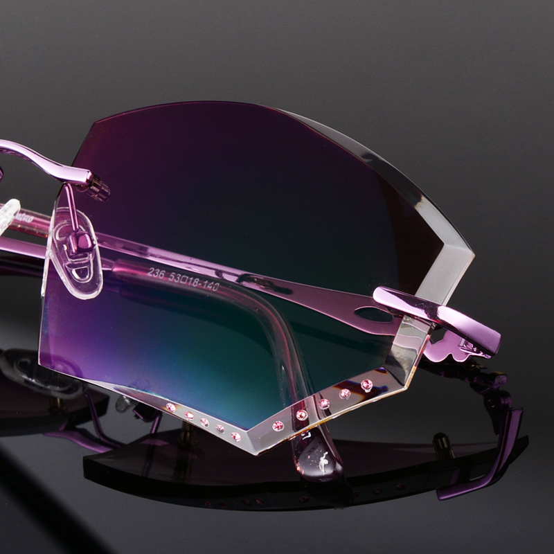 Designer Glasses Frameless Diamond Coloured Ultra Light