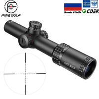 FRIE WOLF Silver 1 4X24 Riflescopes Rifle Scope Red Dot Hunting w/ Mounts For AR15 AK
