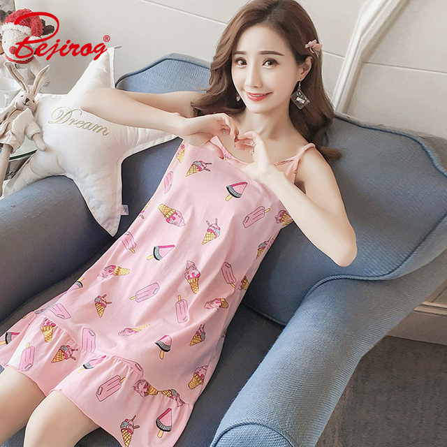 Bejirog Casual Nightdress Sleeveless Nightwear Lady Sexy Pyjamas Women  Nightgowns Milk Silk Sleepshirts Female Sleepwear Summer 3fff74564