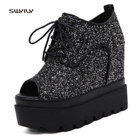 SWYIVY Shoes Sneakers Woman Spring 2018 Platform Female Casual Shoes Sequin Sexy Lady Fish Toe Sneakers Wedge Platform 12 Cm