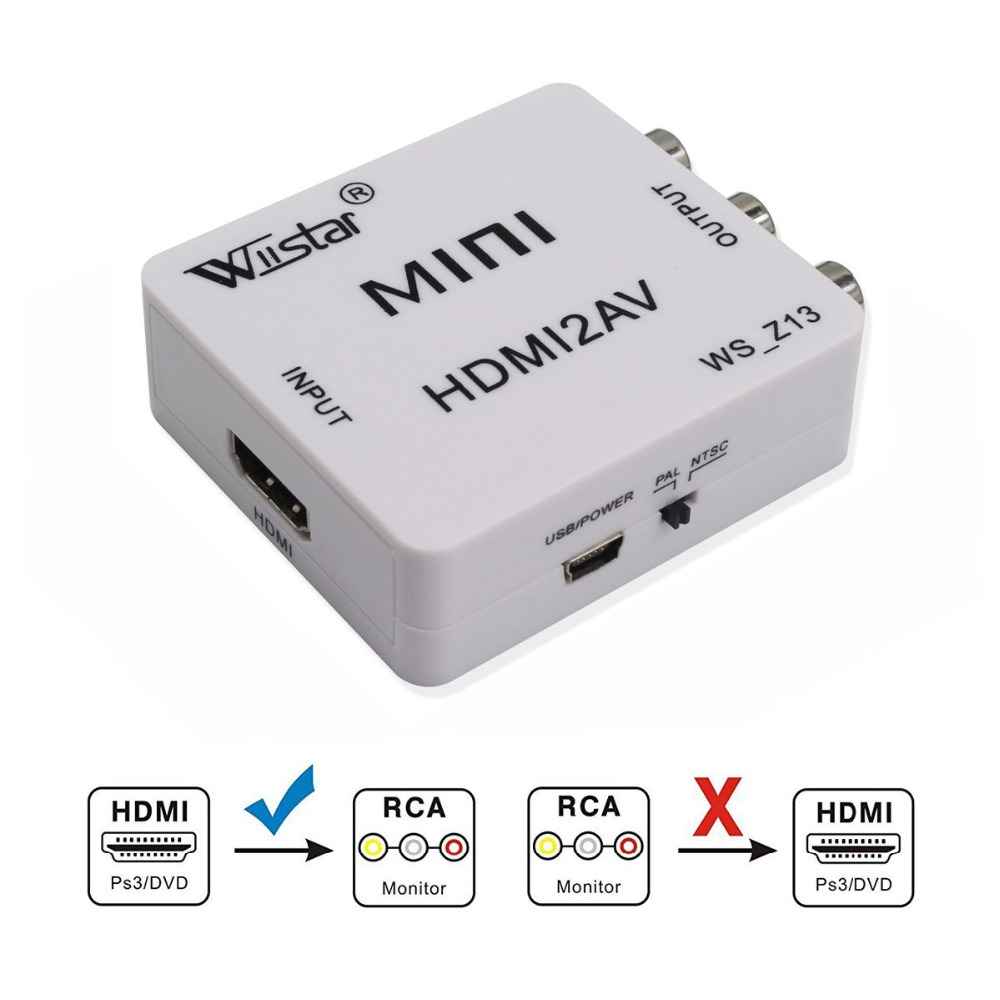 Wiistar HDMI To AV/RCA CVBS Adapter 1080P Video Converter HDMI2AV Adapter Converter Box Support NTSC PAL Mini HDMI TO AV Hdmi2av