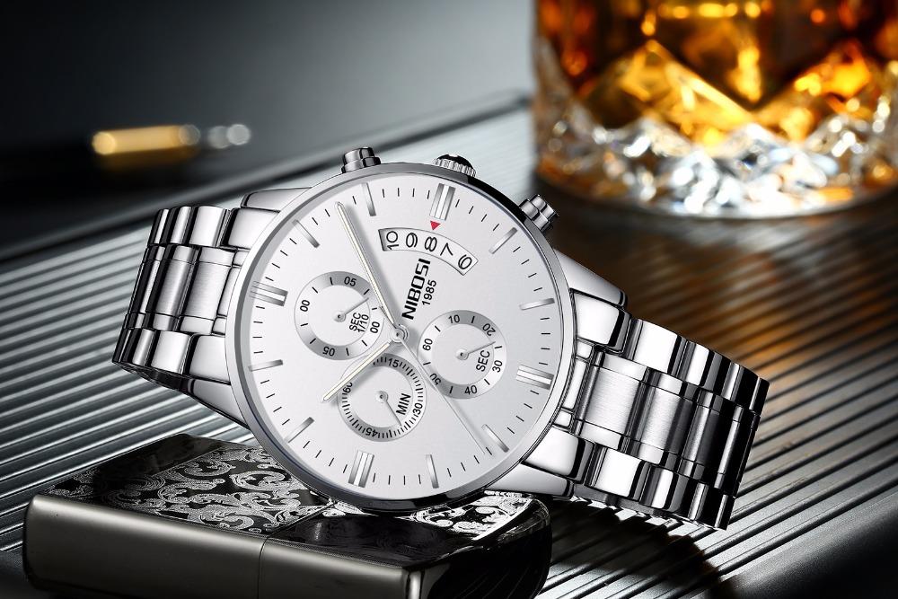 Relojes de hombre NIBOSI Relogio Masculino, relojes de pulsera de cuarzo de estilo informal de marca famosa de lujo para hombre, relojes de pulsera Saat 25