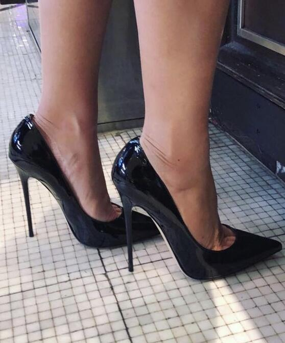 Moraima Snc Patent Leather Pointed Toe Stiletto Heels Dress Pumps Woman Shallow Slip-on 12cm Ultra High Heel Banquet Shoes