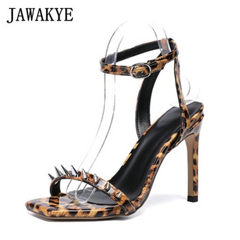 JAWAKYE Sexy Leopard rivets Sandals women pointed toe super high heel Stilettos woman square toe buckle strap Party Shoes woman