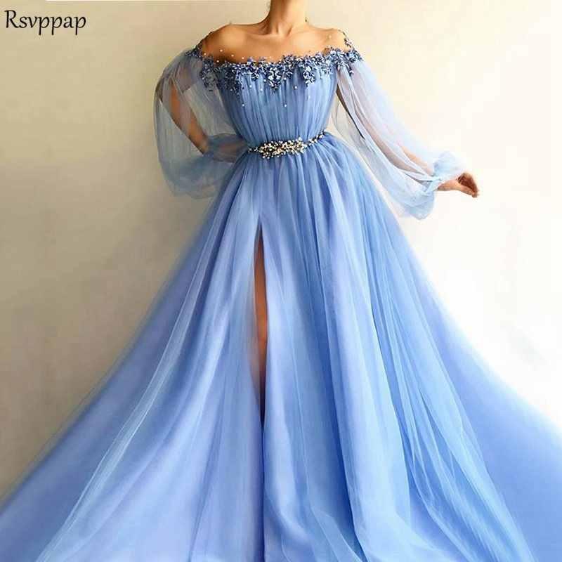 Long Light Blue Evening Dress 2018 Sexy Sheer Scalloped Neckline Long  Sleeve Pearls Women Arabic Formal 22259a2bb940