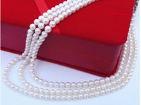 Beautiful new Genuine AAA 7 8mm natural white south sea pearl necklace 54 Yellow clasp