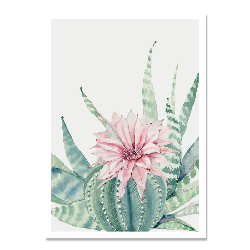 HTB1jVTaXhSYBuNjSsphq6zGvVXa6 Succulent Plants Nordic Poster Leaf Cactus Flowers Wall Art Print Posters And Prints Canvas Painting Wall Pictures Home Decor