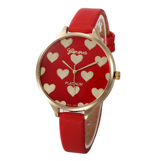 Hot Relojes 2019 New Women Fashion Leather Bracelet Watch Heart Pattern Quartz W