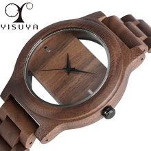 YISUYA Mens Women Natural Wood Watches Full Wooden Bamboo Wristwatch Fashion Hollow Dial Design Quartz Novel Handmade Clock Gift