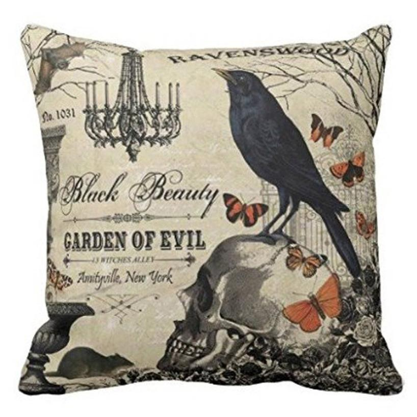 2018 topHappy Halloween Pillow Cases Linen Sofa Cushion Cover Home Decor F#823