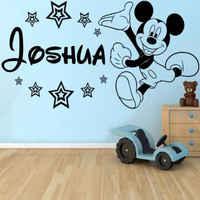 Autocollant Mural personnalisé Mickey Mouse classique bébé stickers muraux décor vinyle bricolage fille garçon chambre murale adesivo de parede D098