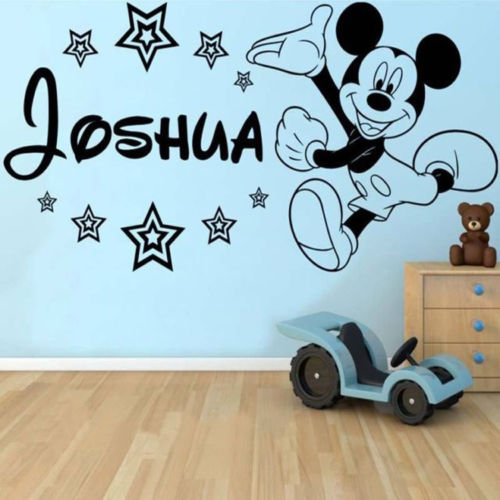 . Personalised Mickey Mouse Wall Sticker Classic Baby Wall Decals Decor Vinyl  DIY Girl Boy Bedroom Mural adesivo de parede D098