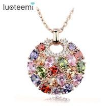 LUOTEEMI, горячее предложение, разноцветное Кристальное круглое ожерелье и кулоны для женщин, розовое золото, разноцветный CZ Циркон, ожерелье с кулоном