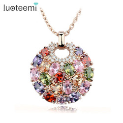 LUOTEEMI Hot Multicolor Crystal Round Necklace & Pendants for Women Rose Gold-Color Multicolor CZ Zircon Pendant Necklace