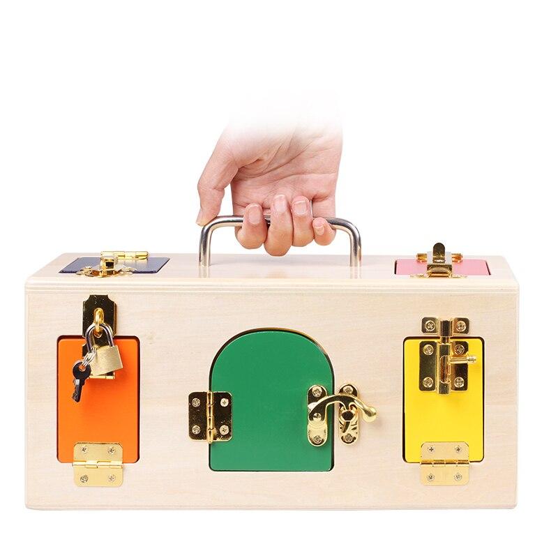 Enfants Montessori jouets 3 ans serrure boîte Montessori matériel sensoriel éducatif en bois jouets enfants Montessori bébé jouet oyuncak - 5